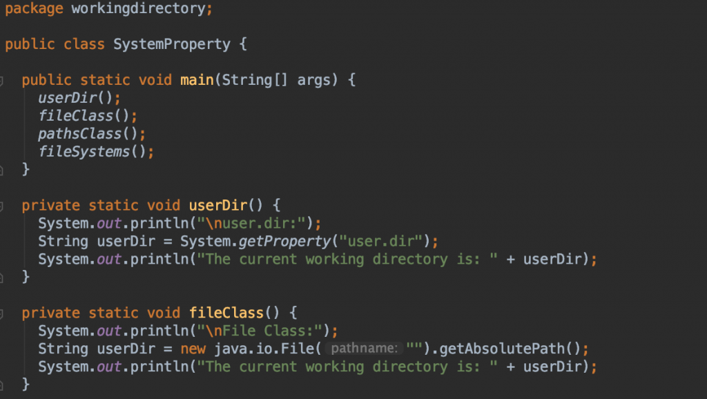 Java code to extract the current working directory